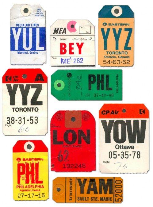 Vintage airline luggage tags