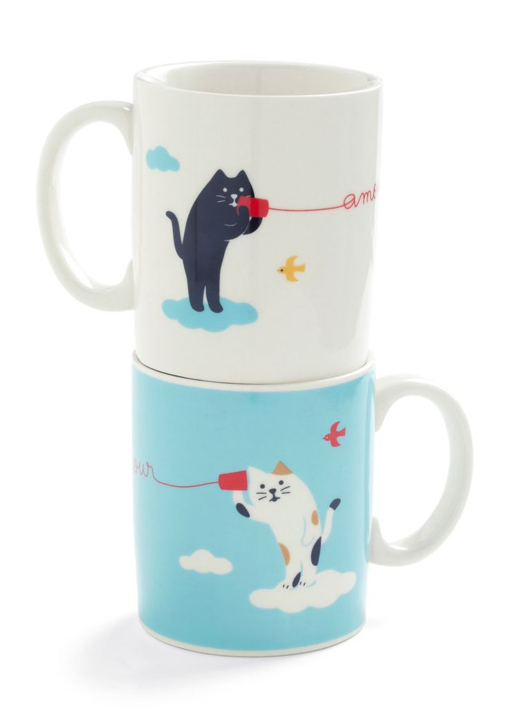 Mew and Me Mug Set by Japanese Gift Market - White, Blue, Print with Animals, Dorm Decor, Quirky, Top Rated