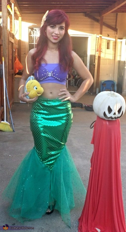 Little Mermaid - Homemade Halloween Costume for Adolescents/Adults. Too cute, wish I had more time to do this!