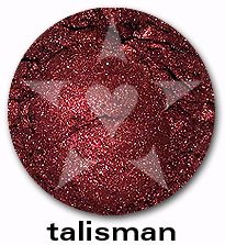 "Talisman is a deep, vivid burgundy with smoke undertones and a brilliant red luster. From Aromaleigh's metallic mineral eyeshadow collection, ""ALCHEMIE"", based on v1's ""Elemental Lustre""."