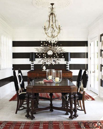I'm obsessed with black and white stripes. Love the single stripe under the window on the adjoining wall.