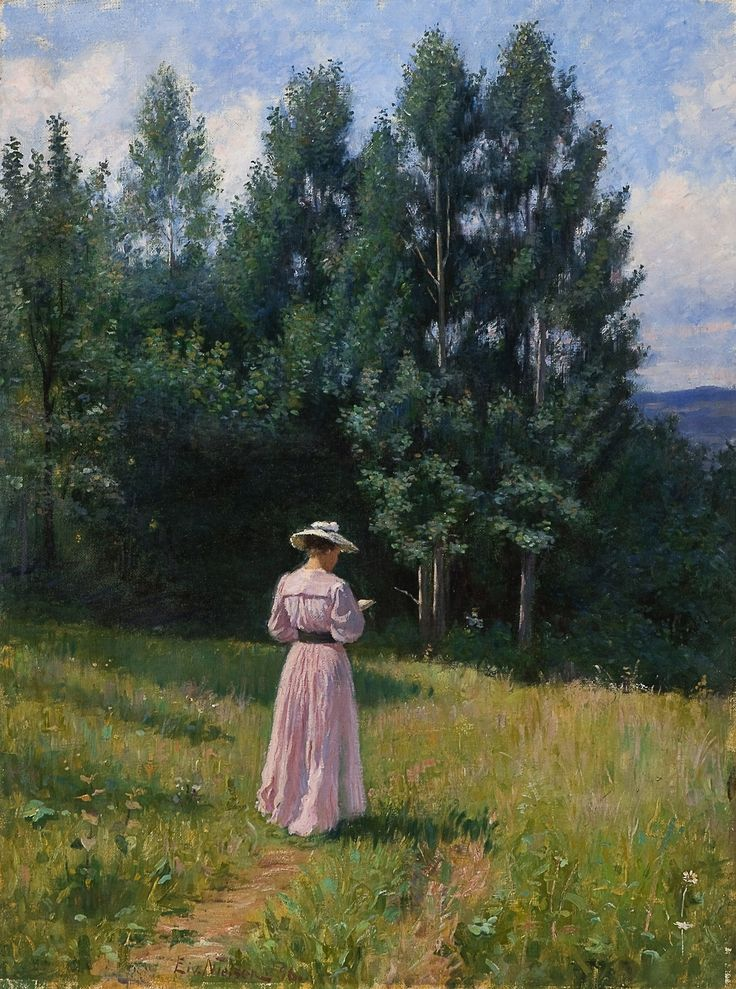 Reading woman in a summer landscape (1896). Eivind Nielsen (Norwegian, 1864-1939). Oil on canvas.