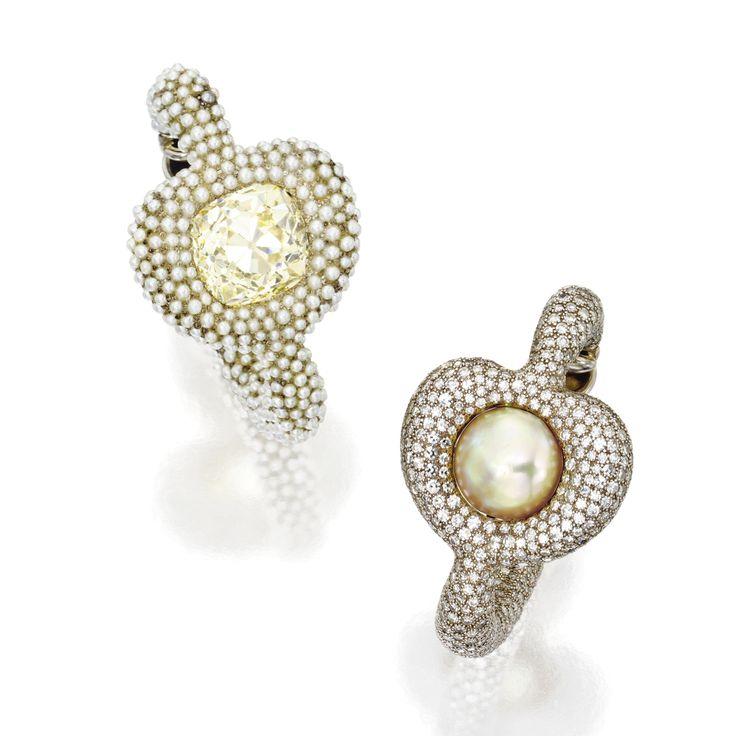 Pair of pearl and diamond hoop earclips, JAR, 1987