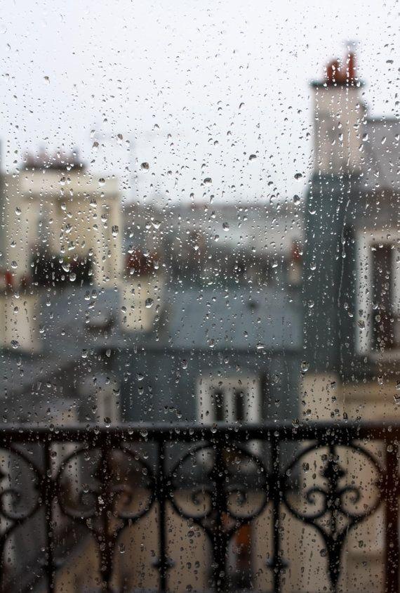 Paris Photography, Paris in the rain, Rainy Day in Paris, Neutral Decor, Grey, Paris Blue, Paris rooftops in the rain