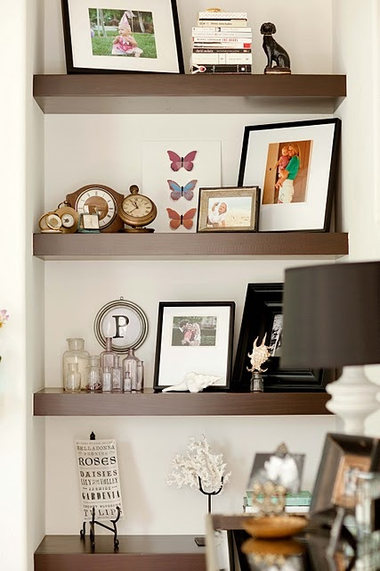 Shelves in a nook with accessories