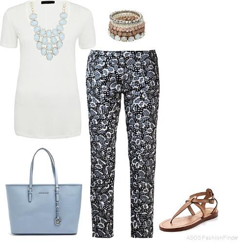 White Tee & Print Pants | Women's Outfit | ASOS Fashion Finder