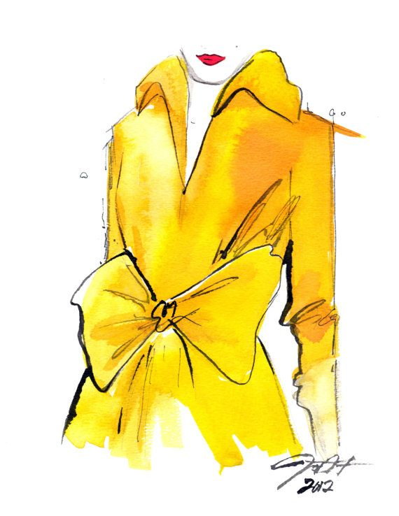 The Yellow Trench print version, Watercolor Fashion Illustration, by Jessica Durrant. $25.00, via Etsy.