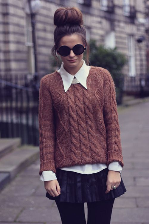 cable knit sweater with the white collared shirt and bun  | mitzitup.com