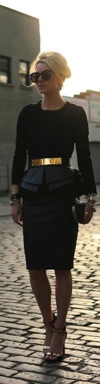 hair w black high neckline dress : )