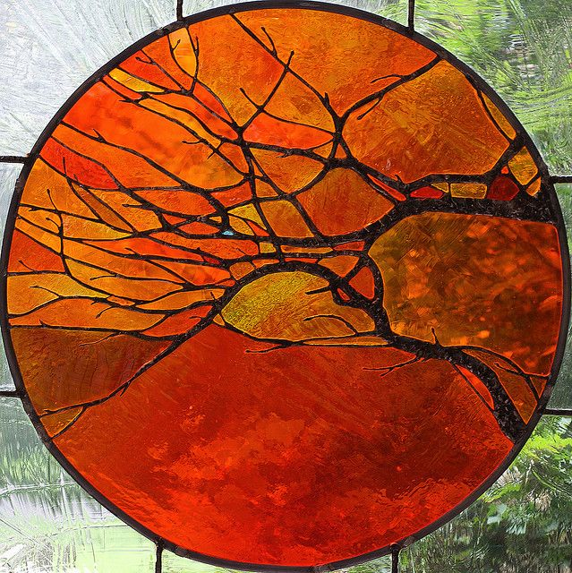 Gypsy living Traveling In Style| Serafini Amelia| Gypsy Art| Amber Orange Brown, warm rich colorful Stained glass window ornament.