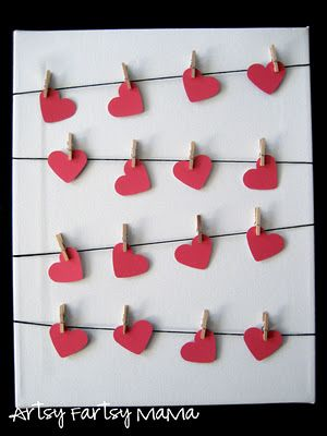 @Kristin Hills  --  We could put this up as a bulletin board, but first send home white hearts & have the parents write a secret message to their child -- and then have the kids paint over it to reveal the message...