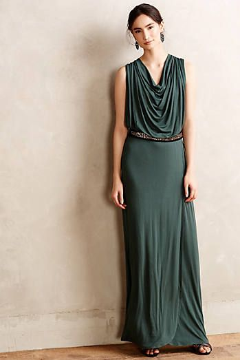 Draped Emerald Maxi Dress