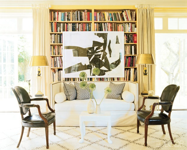 Art on a bookshelf.