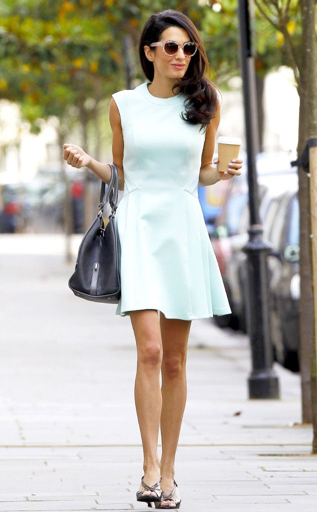 George Clooney's lawyer fiancée Amal Alamuddin looks gorgeous in a chic, mint skater dress!