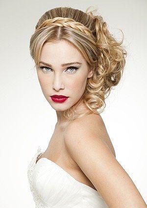 wavy wedding hair with pigtail bridesmaid bridal wedding girls formal black dress