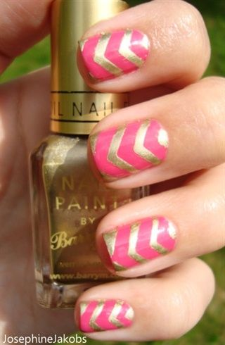 Pink-gold Chevron nails by JosephineJakobs - Nail Art Gallery nailartgallery.nailsmag.com by Nails Magazine www.nailsmag.com #nailart