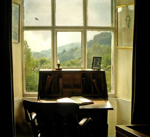 Can you imagine writing at this desk, with this view? Writing Table, Leeds, England  photo via things