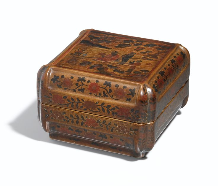 A rare 'Qiangjin' and 'tianqi' lacquer 'Scholar' box and cover, Mark and period of Wanli, dated to the Gengxu year (in accordance with 1610)