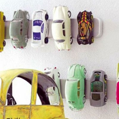DIY Mason Jar Storage - Magnetic Wall Strips for Toy Cars - Click Pic for 44 Easy Organization Ideas for the Home