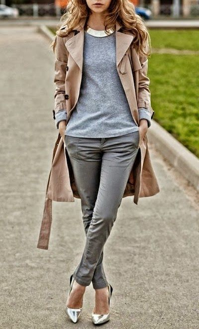 Autumn and winter fashion. Grey pants and jumper, silver pointy heels and beige jacket. CLASSY