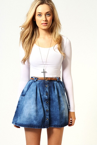 8 Spring Denim Trends To Try Now    acid wash skater    Boohoo Emma Button Front Denim Skirt, $40, available at Boohoo.