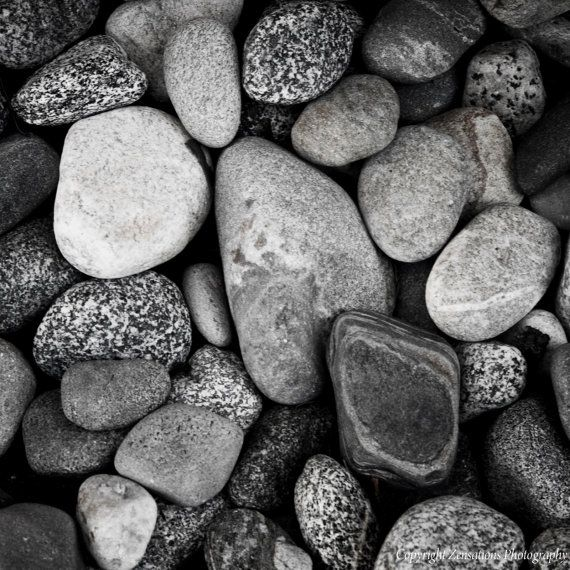 Nature Photography Black and White Beach Rocks 8x8 Fine Art Photograph Zen Minimalist. $15.00, via Etsy.