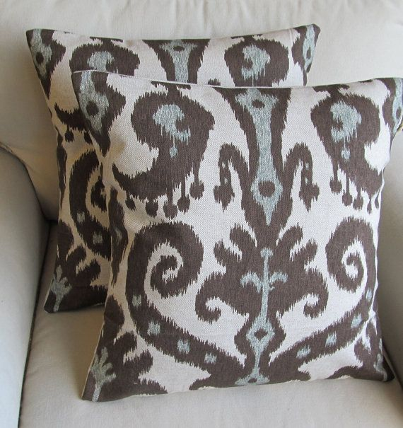 Ikat  Pair of Pillow Covers 20x20 inches WITH INSERTS by yiayias, $100.00