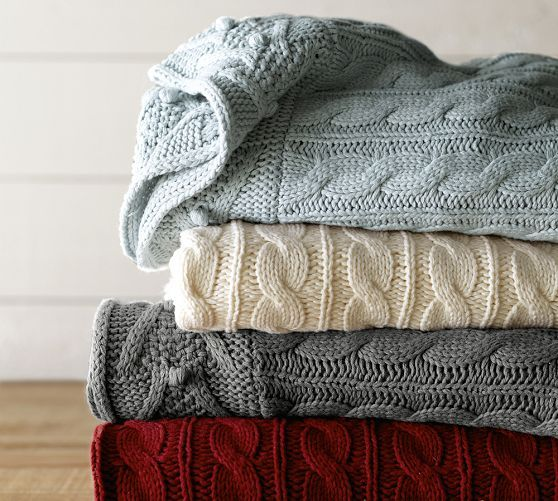 Beautiful, cozy cable knit throws for cold winter days and nights.  #decorative #blanket