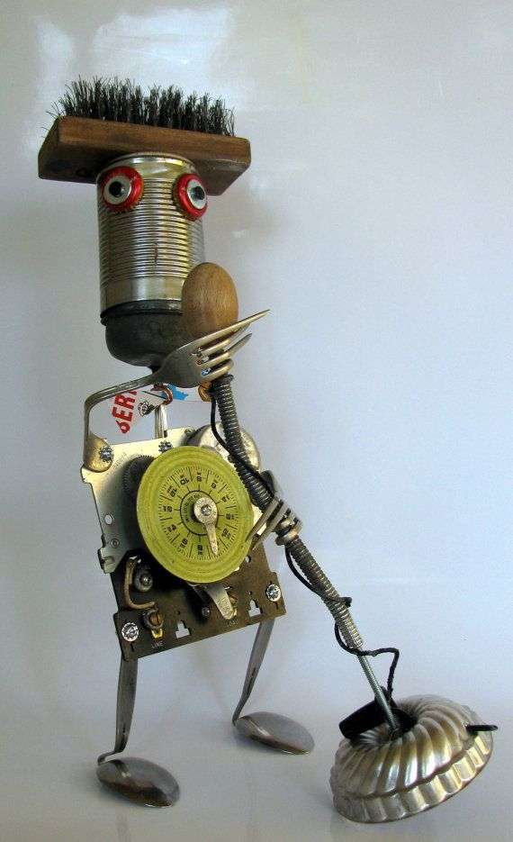 RECYCLED ROBOT SCULPTURE    best American Idol by BranMixArt, $96.00