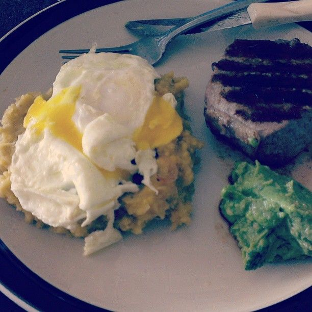 #brunch #paleo mangu with fried onions, fried egg, steak and guacamole