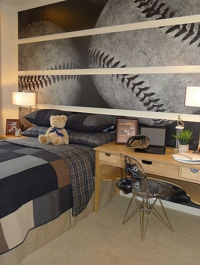 Boy bedroom -  (via Wall Murals, Decals, Sports Themed Interiors)