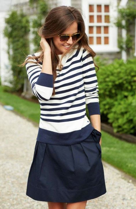navy stripes and a navy skirt.  summer fashion collection #2dayslook #summercollection  www.2dayslook.com