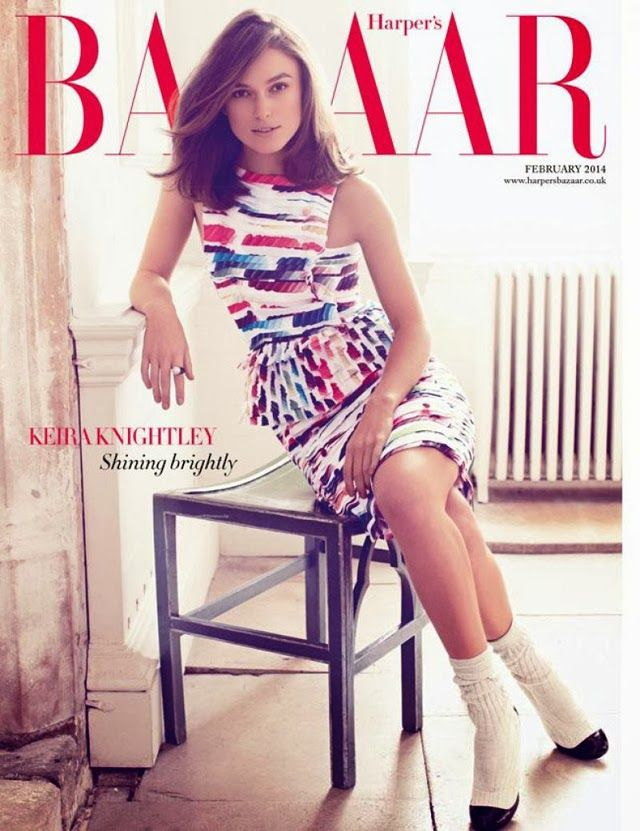 UK Harper's Bazaar February 2014 cover, Keira Knightley by Alexi Lubomirski. Chanel rainbow dress.