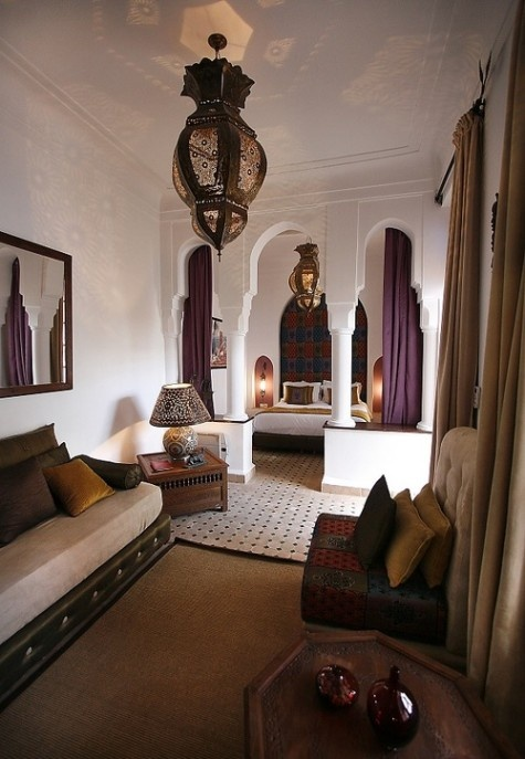 Plum and brown Moroccan interior.