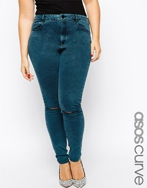 ASOS CURVE Ridley Full Length Jeans In Green Acid Wash With 2 Rips