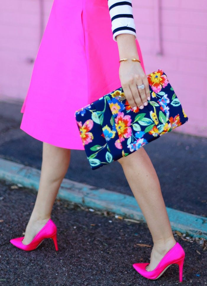 | Barlow Lehman Style Consulting | bright pink / fuchsia midi skirt + heels, striped top, floral clutch bag
