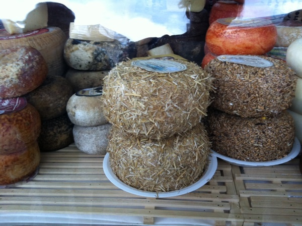 Even the cheeses r exotic at market day in #Tuscany.