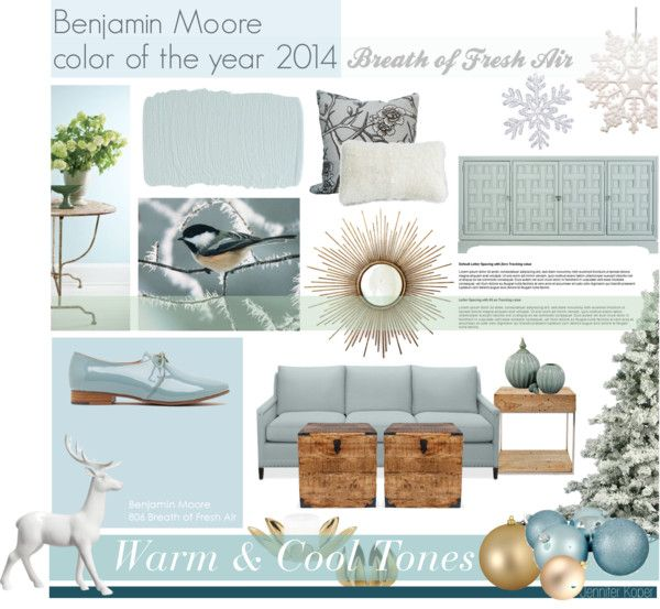 """""""Benjamin Moore Color of The Year 2014 - Breath of Fresh Air"""" by jenniferkoper on Polyvore"""