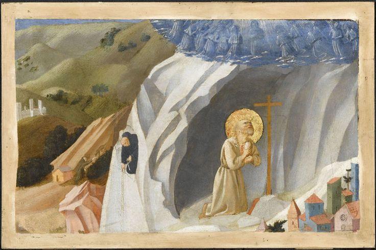 Guido di Pietro dit Fra Angelico (v. 1395, Vicchio di Mugello - 1455, Rome) et son atelier Scène de la Thébaïde : Saint Benoit en extase au désert. Chantilly, musée Condé © RMN-Grand Palais (domaine de Chantilly) / René-Gabriel Ojéda