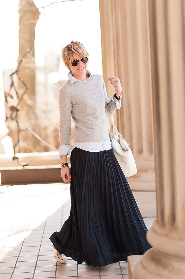 Chambray + grey sweater + pleated maxi. Seersucker + Saddles stays nailing it.