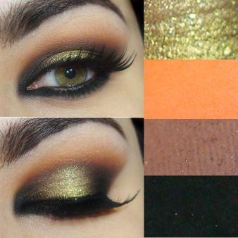 Tutorial com sombra amarela dourada, laranja e preta laranja-Sombra Rule da MAC, preto-carbon mac, marrom-Sombra  Folie da MAC, Lápis sombra Soft Touch na cor Corcovado da NARS, dourado-Sombra Silent Night da NARS