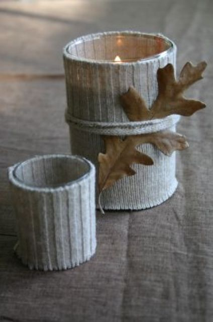 This do-it-yourself fall project is so charmingly cozy. Chances are, you have an old sweater lying around -- why not give it new life by using it as a candle wrap? Family Chic's Camilla Fabbri makes these candle sweater wraps look so simple -- and, oh so, chic.