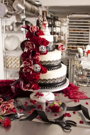 Day of the Dead wedding cake : Real Weddings : Articles.--personally skulls kinda freak me out, but this is an awesome cake!