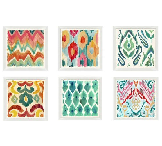 Colorful Painterly Ikats White Framed Prints | Pottery Barn