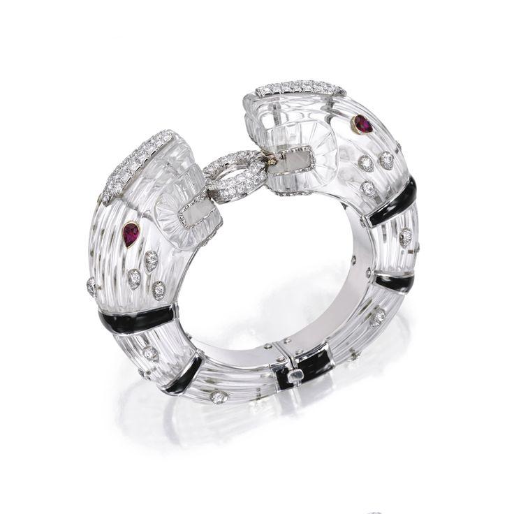 Platinum, 18 karat gold, rock crystal, diamond and ruby 'Chimera' bracelet, David Webb