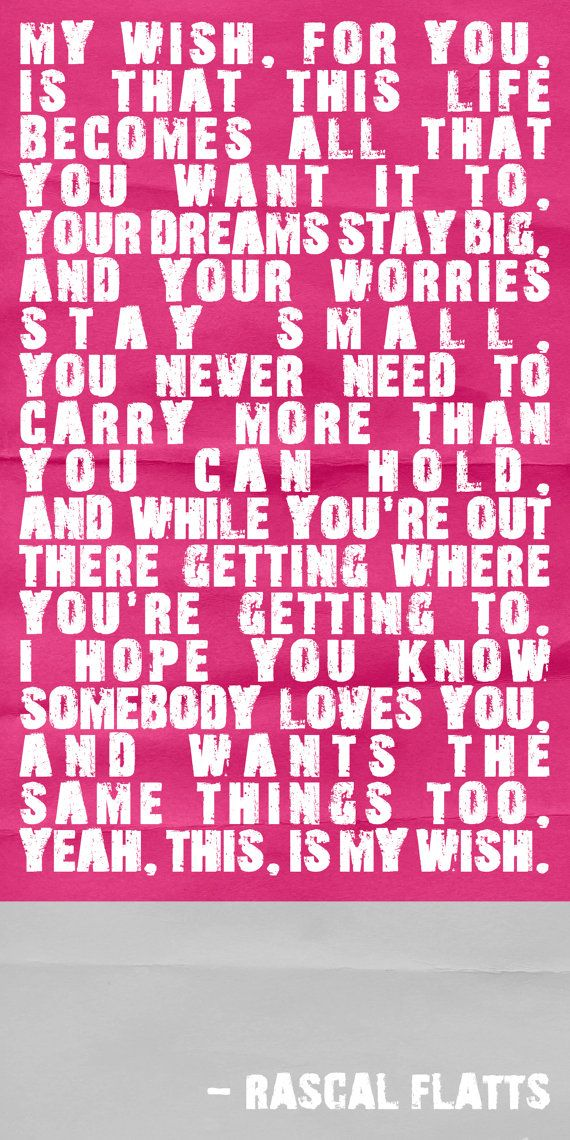 My Wish For You - Wall Art Print (Quote) for my girls room =)