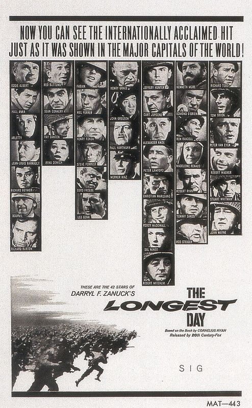 6/18/14  9:10p 20th Century Fox  ''The Longest Day''  All Star Cast  Poster  1962  Best Picture Oscar Nom