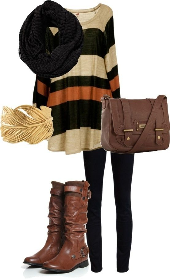 Comfy Black tights and long sweater with brown boots