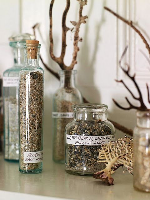 Memory jars add a personal touch to your natural decor ~ Collecting seedpods, leaves, rocks, fossils, shells and drift wood etc. Identify the things you find using books on shells, fossils wildflowers and so on. Keep a journal and draw pictures, or photograph and label.