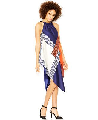 RACHEL Rachel Roy Square-Print Halter-Neck Scarf Dress